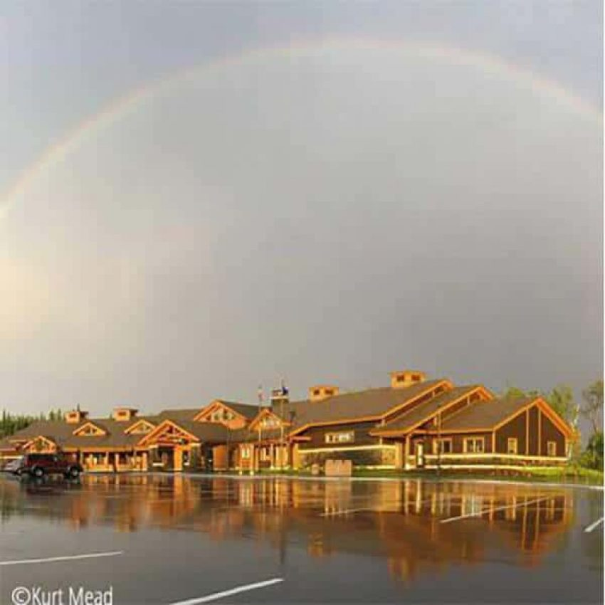 rainbow over tettegouche state park visitor center