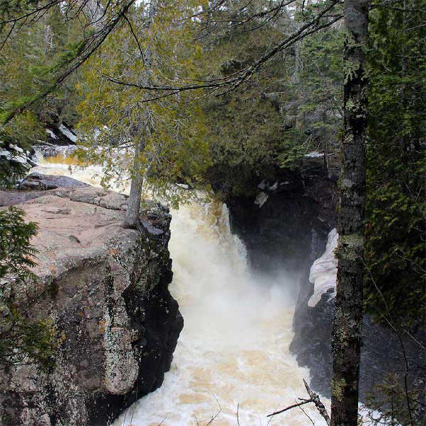 Rushing waterfall Cascade River Lutsen
